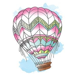 Fly Away Hot Air Balloon Temporary Tattoo